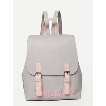 Grey Double Buckle Letter Print Embroidered Backpack