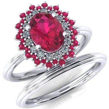 Eridanus Oval Lab-Created Ruby Cluster Diamond and Ruby Halo Wedding Ring ver.2