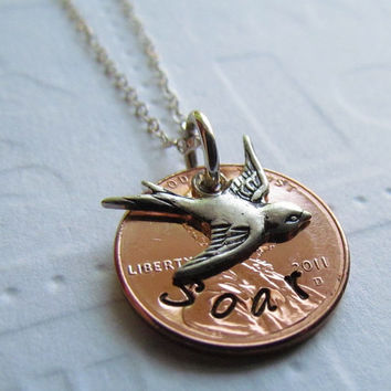 SOAR Lucky Penny Necklace Hand Stamped Jewelry Soaring Swallow Bird Charm Sterling Silver One Word Personalized For You Choose a Year
