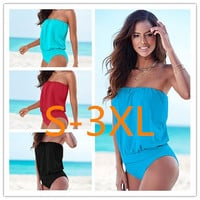 S~3XL 2017 Monokini One Piece Swimsuit Loose Cover Body Slim Swimwear Strapless Sexy Bodysuit Bathing Suit For Women Plus Size