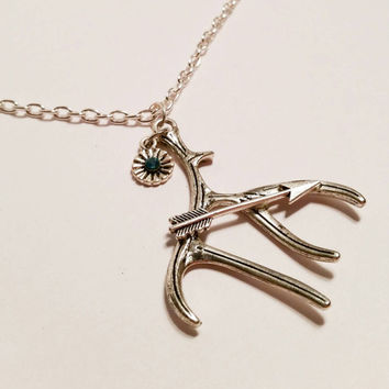 Antler necklace bow hunting arrow & elk antler charm necklace with teal blue rhinestone 26""