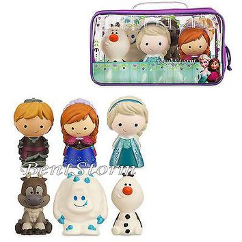 Licensed cool NEW Disney Store FROZEN 6 piece Bathtub Bath Toy Set Swimming Pool Fun W/Case