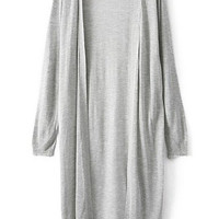 Grey Long Sleeve Long Line Cardigan