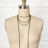 Olive Leather Wrap Choker