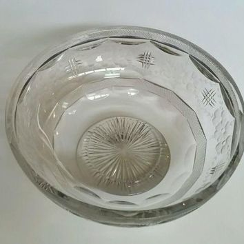 Signed Libbey cut glass bowl ABP antique