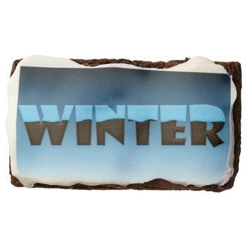 Winter Written in Chocolate w/Frosting Brownies