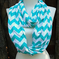 Chevron Scarf, Infinity Scarf, Wide and Long, Cotton/Rayon Blend, Aqua Infinity Scarves, Knit Jersey, Zig Zag