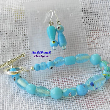 "Bright Silver Toggle & Lt. Blue Glass Bead Bracelet Set//""Hand Blown""Glass Set//Earring Set//Handmade//Jewelry//Women//Fashion//Gift"