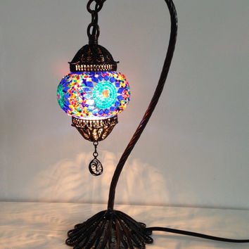Blue Turkish Stylish Boho Mosaic Lamp With Hand Crafted Copper Base Unique Ethnic