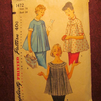 SALE Complete 1960's Simplicity Sewing Pattern, 1472! Size 16 Bust 34 Medium/Women's/Misses/Maternity Flared Tops/Detachable Collars/Cuff Sl