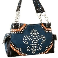 Studded Fleur De Lis Satchel Bag Purse w/ Chain Straps (Blue)
