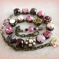 NEW Swarovski crystal choker, SWEETEST ROMANCE, 11mm pink and brown on antique brass, better than sabika