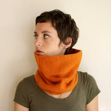 Knit Cowl - Loop Scarf - Pumpkin Orange