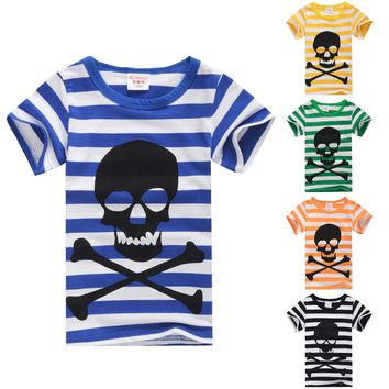 boys tshirts stripe skull print 100% cotton short sleeve