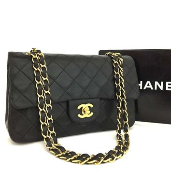 CHANEL Double Flap 23 Quilted CC Logo Lambskin w/Chain Shoulder Bag Black/ 2DF x