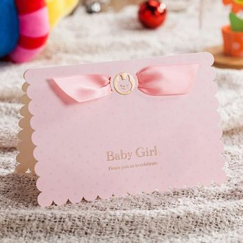 Pink Blue Baby Shower Invitation Cards With Cute Baby Car Invites Card Kit for Boy Girl Birthday 1 Piece Sample Card