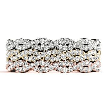 Stackables 1/2 Eternity Infinity Tri-Tone Gold Micro-Pave Infinity Diamond 3-Band Set Selectables
