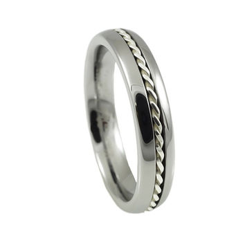 Silver Braid Dome tungsten promise ring Woman
