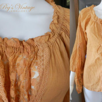 Vintage Boho Lace Blouse/Top With Handkerchief Sleeves/Bell Sleeve Shirt/ Gold Colour Hippie Retro Fashion Shirt