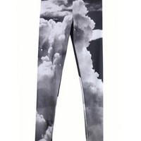 Star Black and White Clouds Stretch Leggings$39