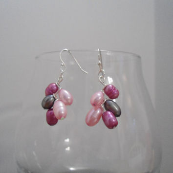 Pearly Sea: Pearl Earrings, Pink Earrings, Gray Earrings, Sea Earrings, Fresh Water Pearl Earrings, Dangle Earrings, Purple Earrings, Beach