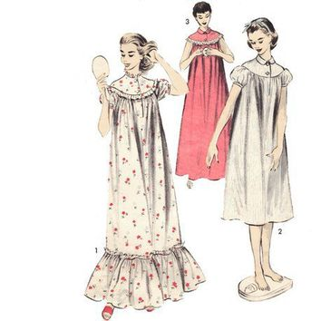 Nightgown Sewing Pattern Vintage Puff Sleeve Round Yoke Lingerie 36