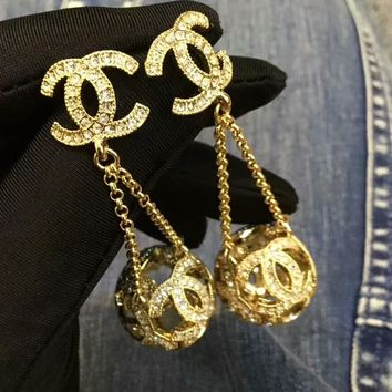 Chanel Popular Ladies Tassel Pendant Hollow Small Ball Earring I-QSSP-DP