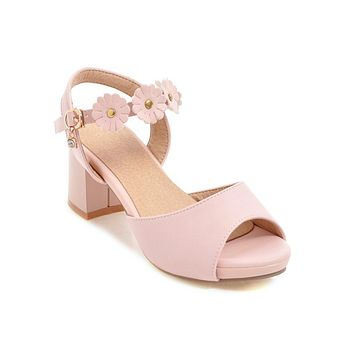 Flower Ankle Strap Chunky Heels Sandals Summer Shoes 4107