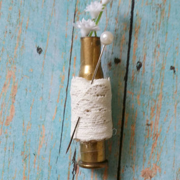 Bullet Boutonniere / Lace Boutonniere / Country Chic Wedding / Rustic Boutonniere / Hunting Wedding / Floral Boutonniere / Rustic Wedding