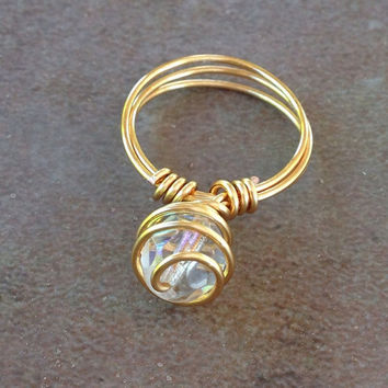 Bling ring, spiral wire ring, Czech glass, promise ring, dinner ring