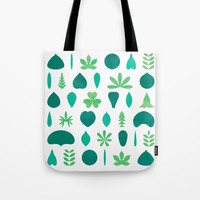 Leaf Shapes and Arrangements Pattern Bright Tote Bag by Kathrinmay
