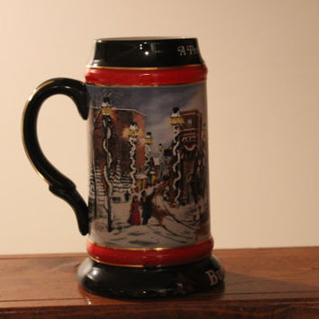 "Vintage Budweiser Stein.  1992 Collector's Series ""A Perfect Christmas""  The World Famous Budweiser Clydesdale 8-Horse Hitch and Wagon"