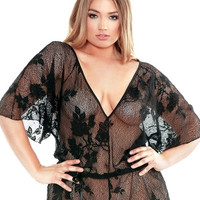 Plus Size Lace Romper with Adjustable Waist