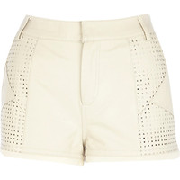 River Island Womens Cream perforated panel leather shorts