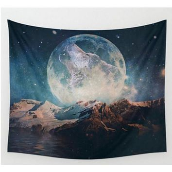Wolf Moon Tapestry, Beach Throw, Home Decor  150*200cm Polyester