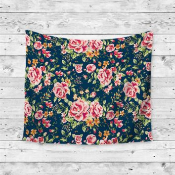 """Navy Floral"" Beautiful Flowers Wall Tapestry"