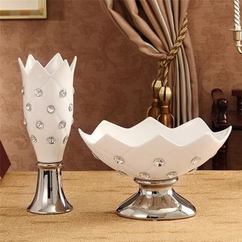 Creative home decorations white black ceramic fashion modern vase and gift with diamond table flower vase decorative fruit bowl