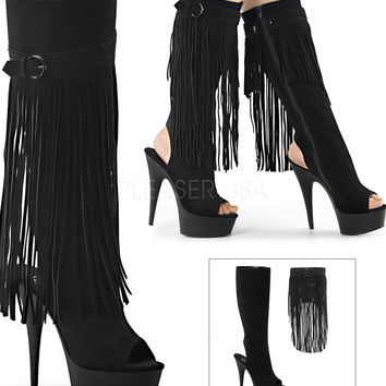 Two Boots In One-Suede Knee High Fringe-Stripper Boots