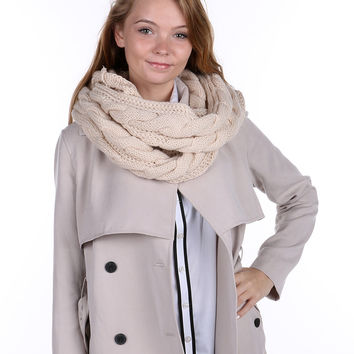 Beige White Cable Knit Infinity Scarf