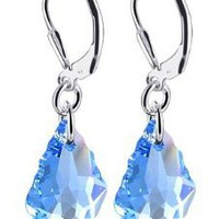 Amazon.com: SCER303 Sterling Silver Baroque Aquamarine Crystal Earrings Made with Swarovski Elements: Jewelry