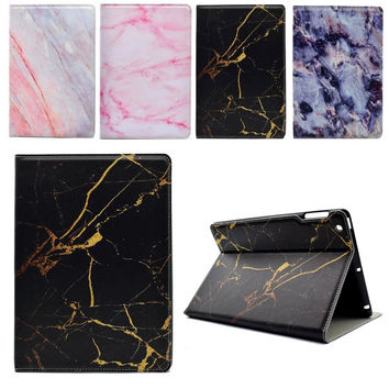 New Slim For iPad Air 1 2 Case Marble PU Bracket Stand Funda Cover For Apple iPad 2 3 4 Air 1 2 Flip Protective Tablet Coque