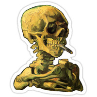 "'Vincent Van Gogh - ""Skull of a Skeleton with Burning Cigarette""' Sticker by ModularMork"
