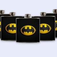 Personalized Custom Wedding Party Flask, Batman Logo Flask Set