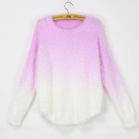 Mohair gradient bat sleeve sweater