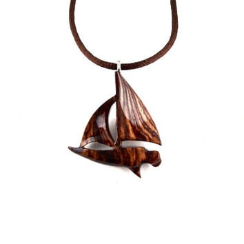 Boat Necklace, Sailboat Necklace, Sailboat Pendant, Wood Boat Pendant, Boat Jewelry, Yacht Necklace, Nautical Jewelry, Sailboat Wood Jewelry