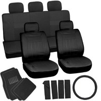OxGord 21pc Solid Black Flat Cloth Seat Cover and Carpet Floor Mat Set for the Toyota Celica Convertible, Airbag Compatible, Split Bench, Steering Wheel Cover Included