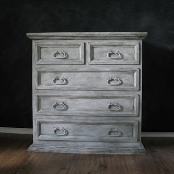 Painted Solid Pine Chest Nightstand  Greys/Whites