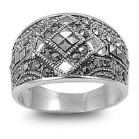High Fashion Sterling Silver Bold Face Design Marcasite Ring
