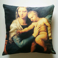 "Cushion/pillow ""Madonna del pesce"" painted by Raffaello SANZIO (Raphael), printed on cotton canvas. Cushion cover, insert sold apart."