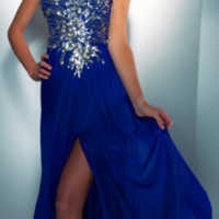 Mac Duggal Prom 2013 - Strapless Royal Blue Sequin Dress - Unique Vintage - Prom dresses, retro dresses, retro swimsuits.